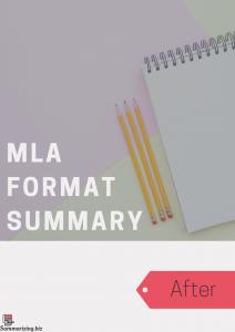 mla format summary example