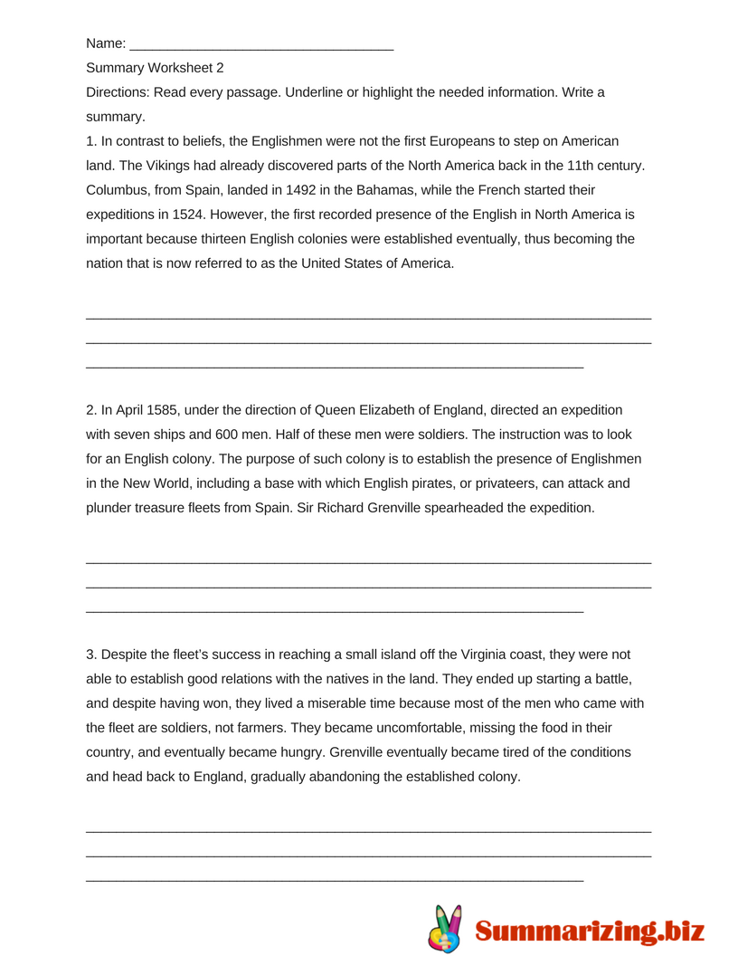 worksheets on summarizing examples