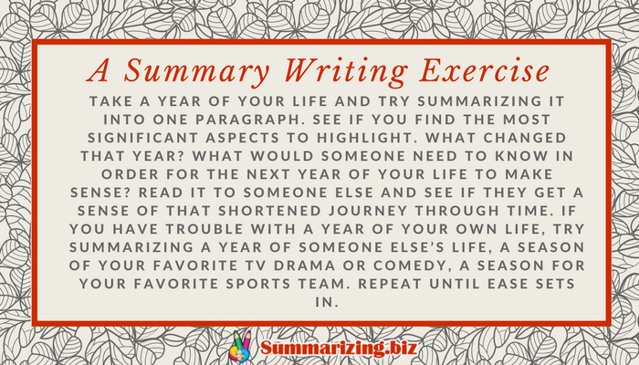 exercise for writing a novel summary