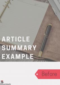 summarizing an article example